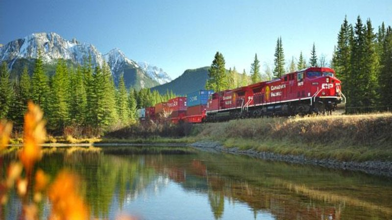 Canadian train in beautiful landscape